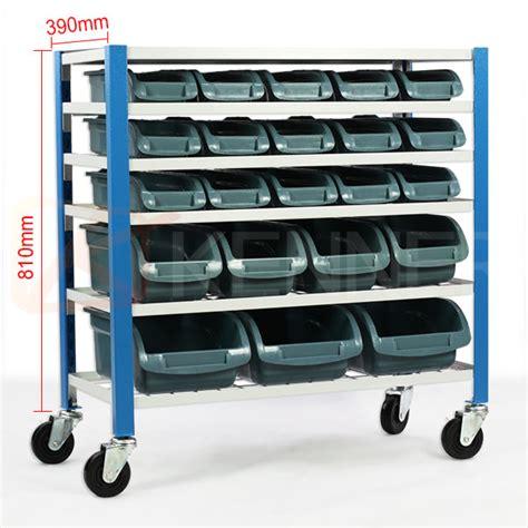 Garage Storage Racks On Wheels Mobile Garage Storage 22 Bin Parts Rack Shelving