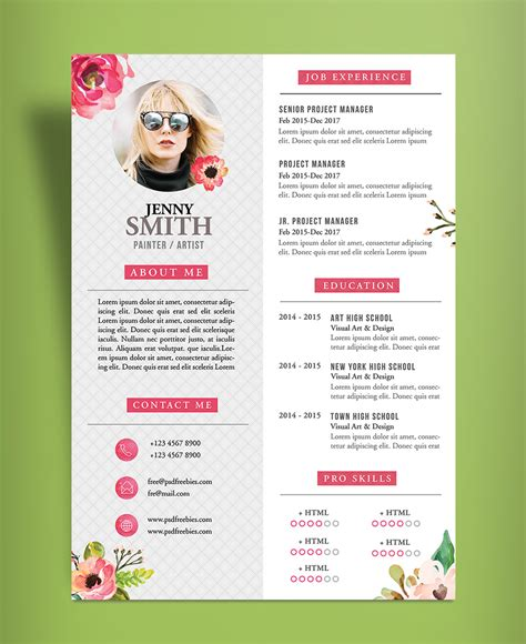 free artistic resume cv design template psd file resume