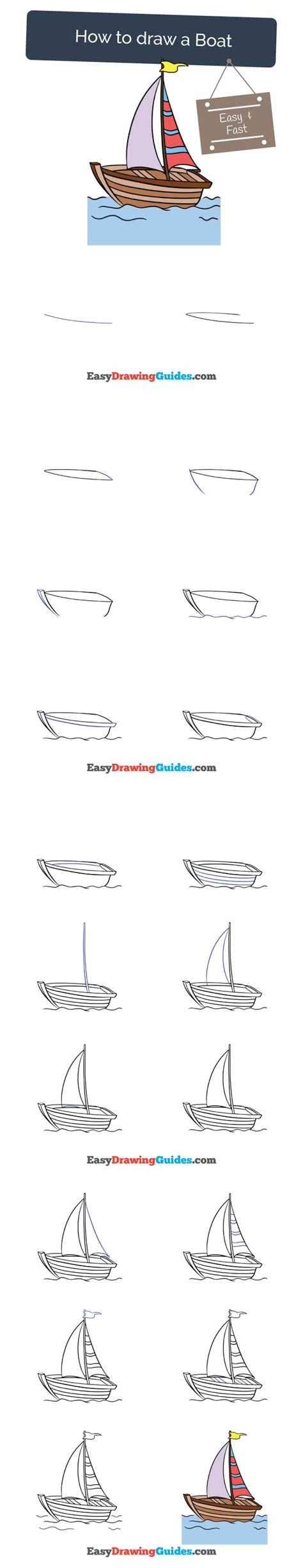 boat drawing easy step by step how to a boat in a few easy steps boating drawings and