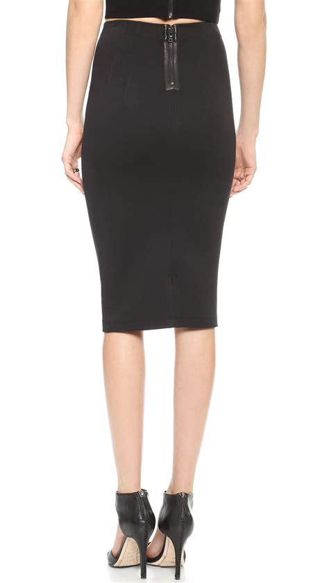 high waist pencil skirt black in