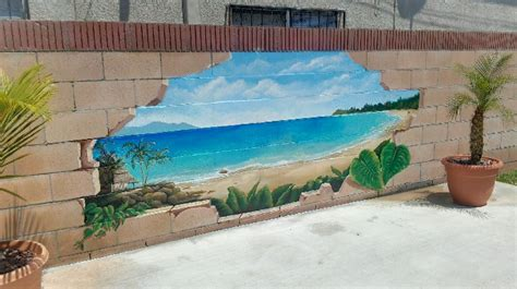 Outdoor Broken Cinder Block Beach Scenery Mural Idea As Garden Wall Paint