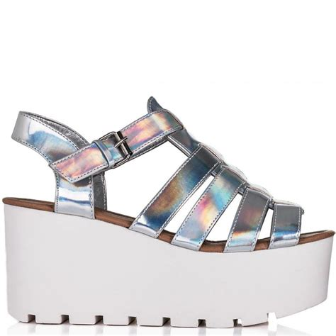 buy surf cut out flatform platform sandal shoes silver