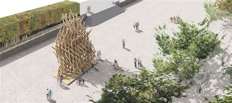 designboom jardin kengo kuma to assemble timber yure pavilion in paris