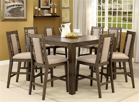 counter height dining room sets eris ii weathered gray extendable counter height dining room set cm3213pt furniture of america