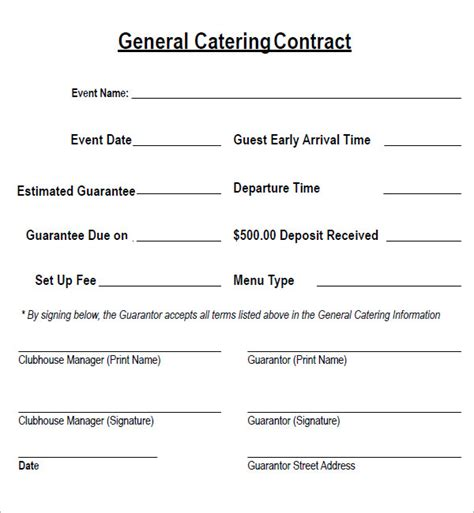 catering templates free catering contract 7 free pdf