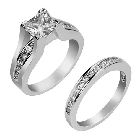 Silver Ring With Cubic Zirconia P 1008 s aaa cubic zirconia princess cut sterling silver engagement wedding ring set www