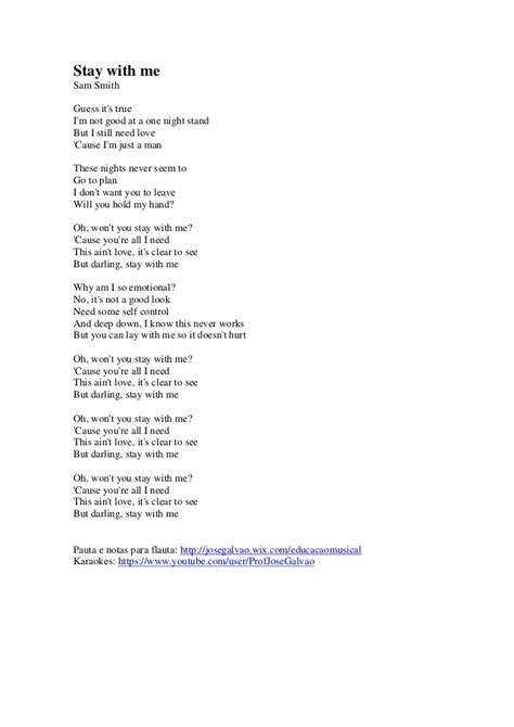printable lyrics sam smith stay with me stay with me sam smith letra