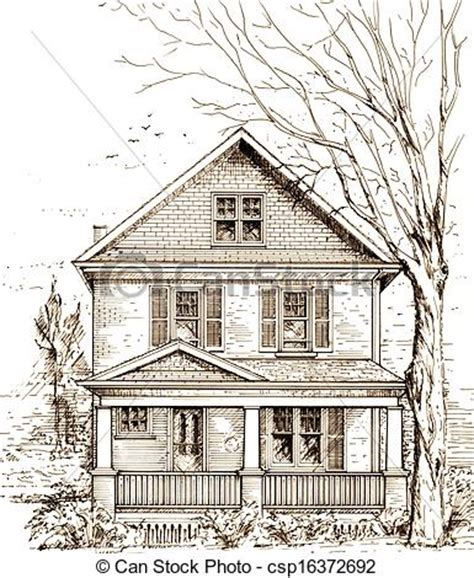 Cape Cod Home Style by Stock Illustration Of House With Front Porch Pen And Ink