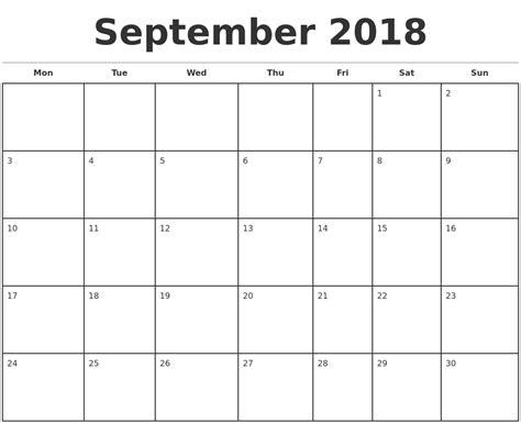 2018 monthly calendar templates september 2018 monthly calendar template