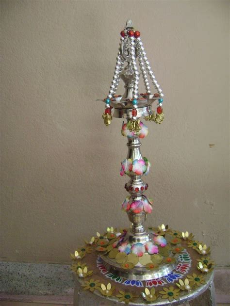 how to decorate a kuthu vilakku decoration aarti plates pinterest