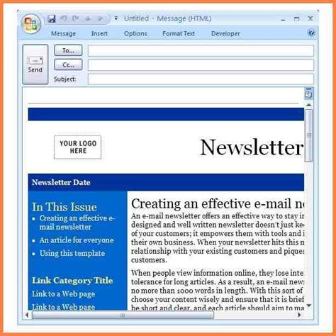 Newsletter Template Outlook outlook newsletter template template design