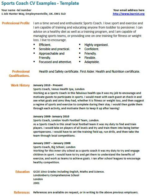 coaching profile template sports coach cv exle learnist org