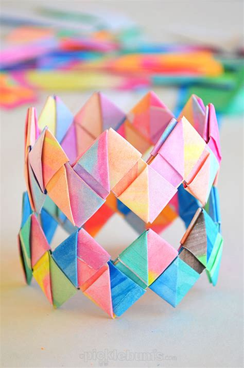 Folding Paper Activity - how to make folded paper bracelets paper bracelet