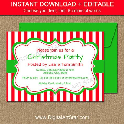 printable christmas party invitation from digital art star