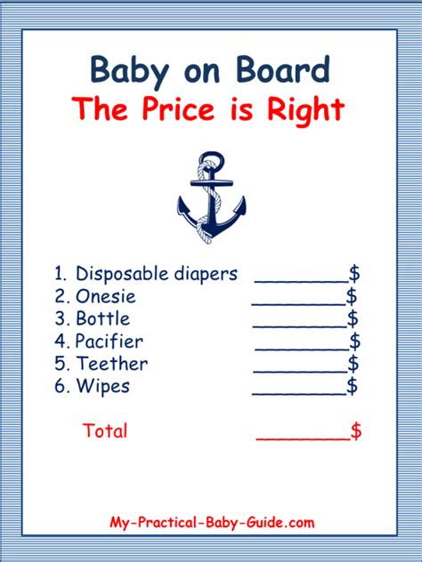 Free Printable Nautical Baby Shower by 7 Best Images Of Free Printable Price Is Right Prices