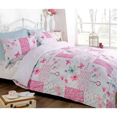 floral patchwork shabby chic duvet cover butterfly reversible bedding bed set ebay