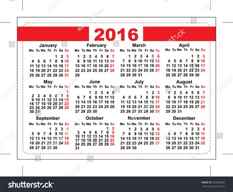 pocket calendar template 2016 pocket calendar template grid horizontal stock