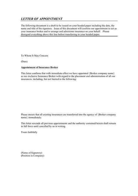 insurance broker appointment letter exle insurance broker letter of appointment in word and pdf formats