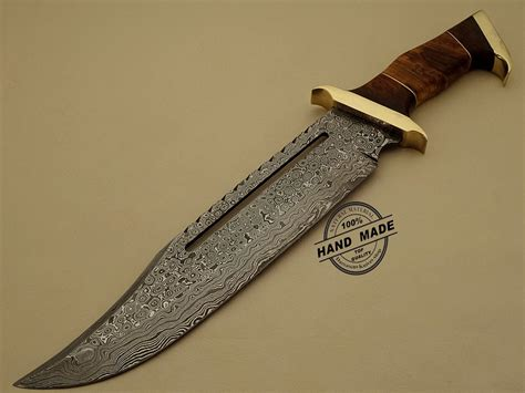 Handcrafted Knife - best damascus rambo bowie knife custom handmade damascus steel