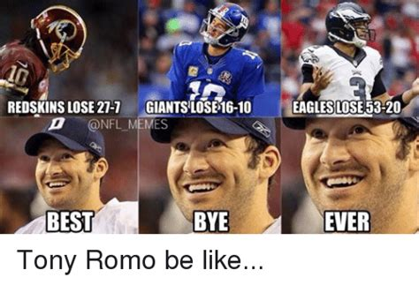 Tony Romo Interception Meme - redskins lose 27 7 giantslose 16 10 memes best bye eagles