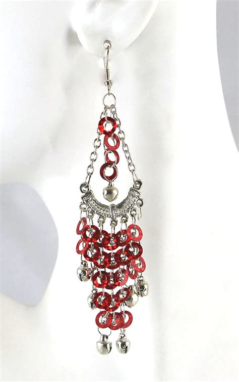 Sequin Earring sequin chandelier earrings with bells silver