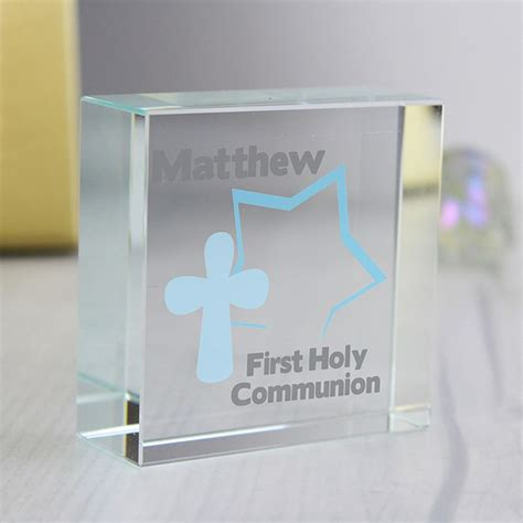 holy communion gifts for boys blue and cross holy communion block for boys personalised gift with name