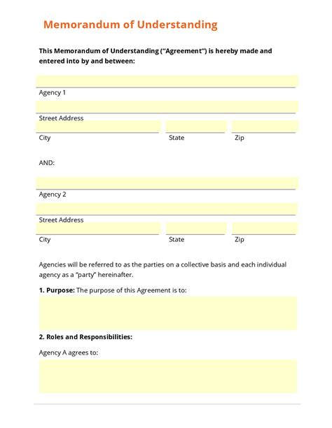 Business Form Template Gallery Mou Document Template
