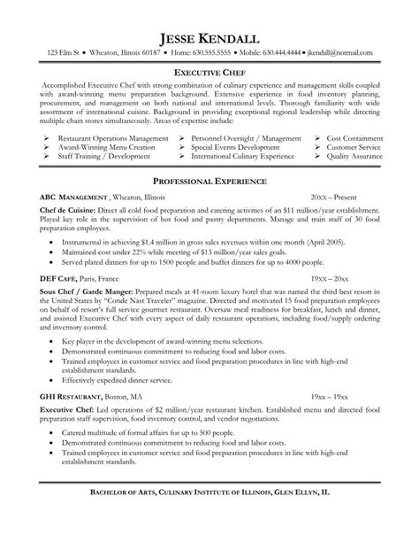 Resume Adjectives 2015 Resume Exle Professional Culinary Resume Templates Chef Resume Culinary Resume Sles