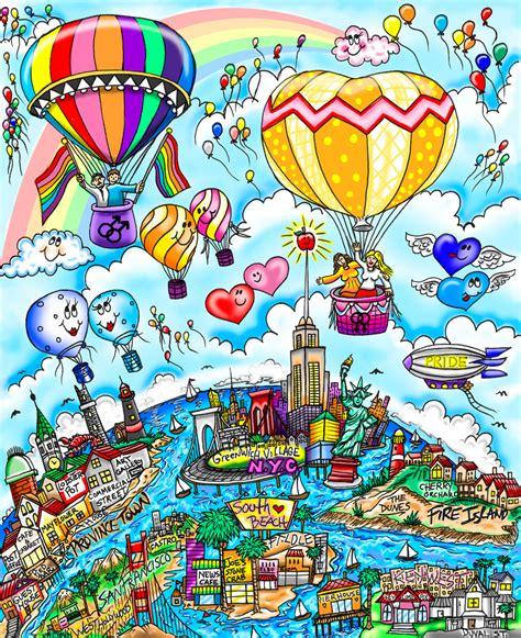 many colors charles fazzino rainbows and balloons of many colors 3