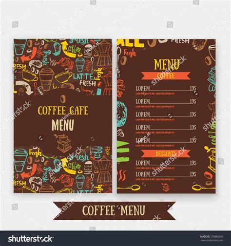 menu design lettering cafe menu template design lettering coffee stock vector