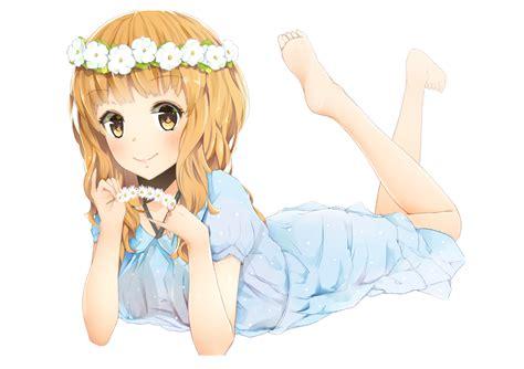 Idolmaster Set Kirari Moroboshi barefoot blush brown brown hair flowers idolmaster