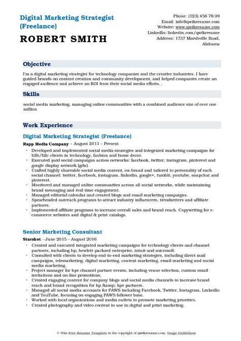 digital marketing strategist resume sles qwikresume