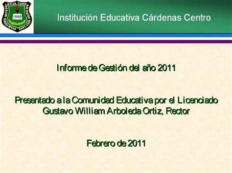 cardenas ad el centro ca calam 233 o informe de gestion rectoria a 209 o 2011