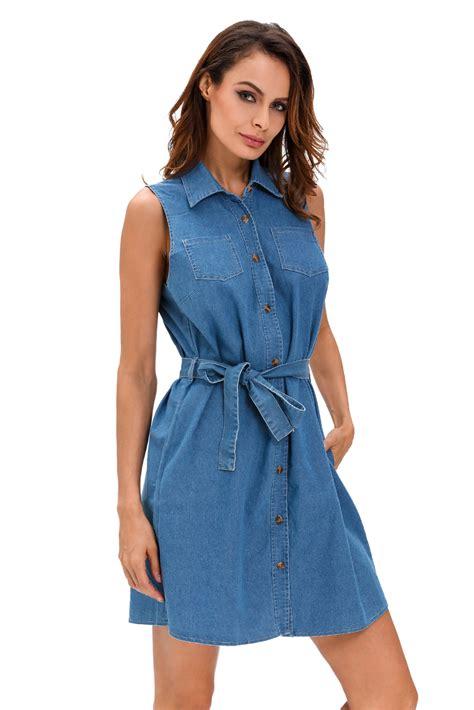 cheap wash belted denim shirt dress for
