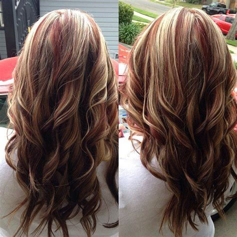 brown hair with multiple highlights red brown two toned hair color red highlights with