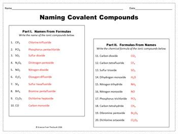 naming covalent compounds worksheet  review