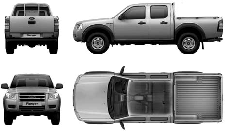 2007 Ford Ranger Double Cab Pickup Truck Blueprints Free Outlines Ford Ranger Wrap Template