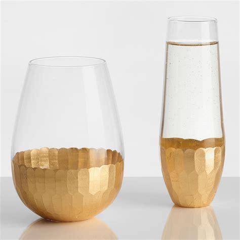 designer barware gold stemless glassware collection world market