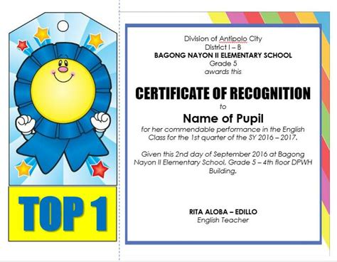 classroom certificates templates editable quarterly awards certificate template deped