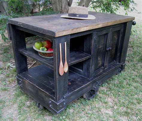distressed black modern rustic kitchen island cart with walnut stained top wes dalgo