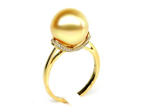 gold south sea pearl ring 11mm 12mm aaa pearl