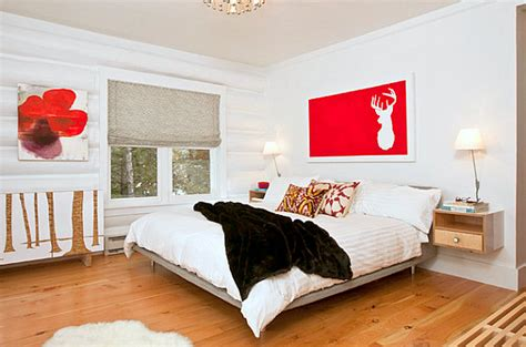red accents in bedroom how to decorate a room with white walls