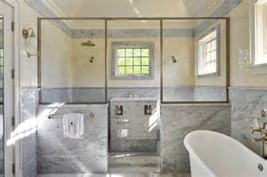 Corner Bathtub Shower Combo Shower With Marble Wainscoting Design Ideas