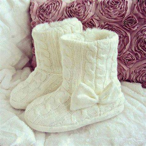 girly slippers shoes withe bow node crewel ugg wool knitting