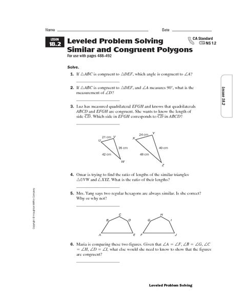 Similar Polygons Worksheet Answers by Worksheet On Similar Polygons Images