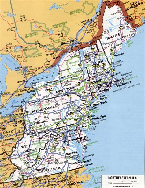 road map usa east east us