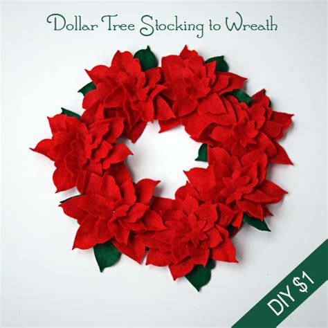 Poinsettia Paper Craft - make a felt poinsettia wreath from dollartree