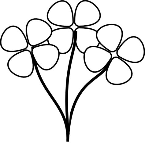 flowers clipart black and white three white flowers clip at clker vector clip