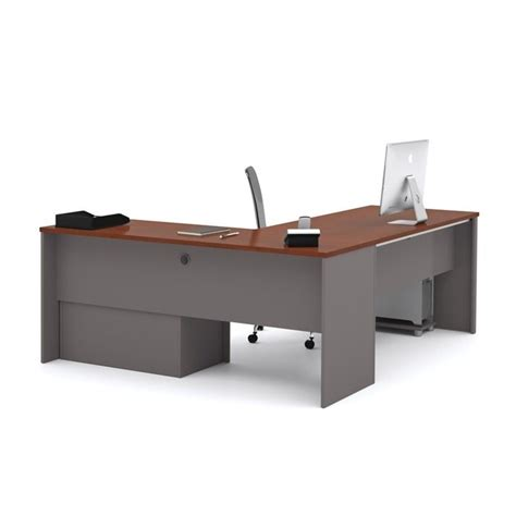 bestar l shaped desk bestar connexion l shaped desk with 1 oversized pedestal in bordeaux and slate 93862 39
