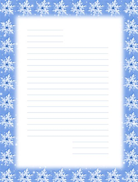 free printable lined christmas stationery paper free printable christmas snowflake stationery